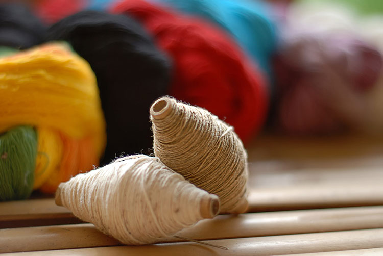 Colourful spools of hemp