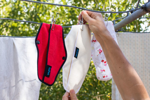 Hemp Fleece Pants Liners on clothesline